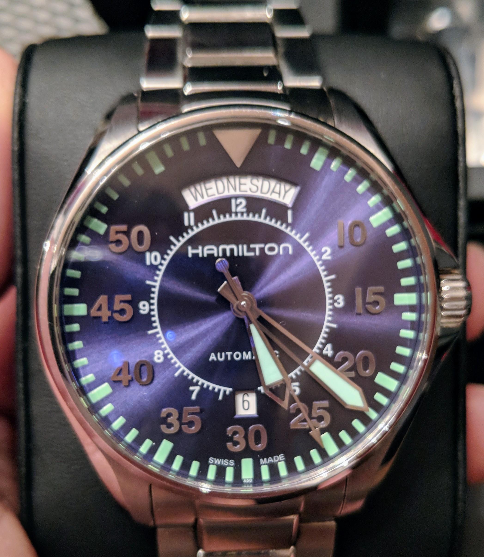 5c4773ca35b SOLD - HAMILTON Khaki Aviation Pilot Day Date Automatic Blue Dial ...