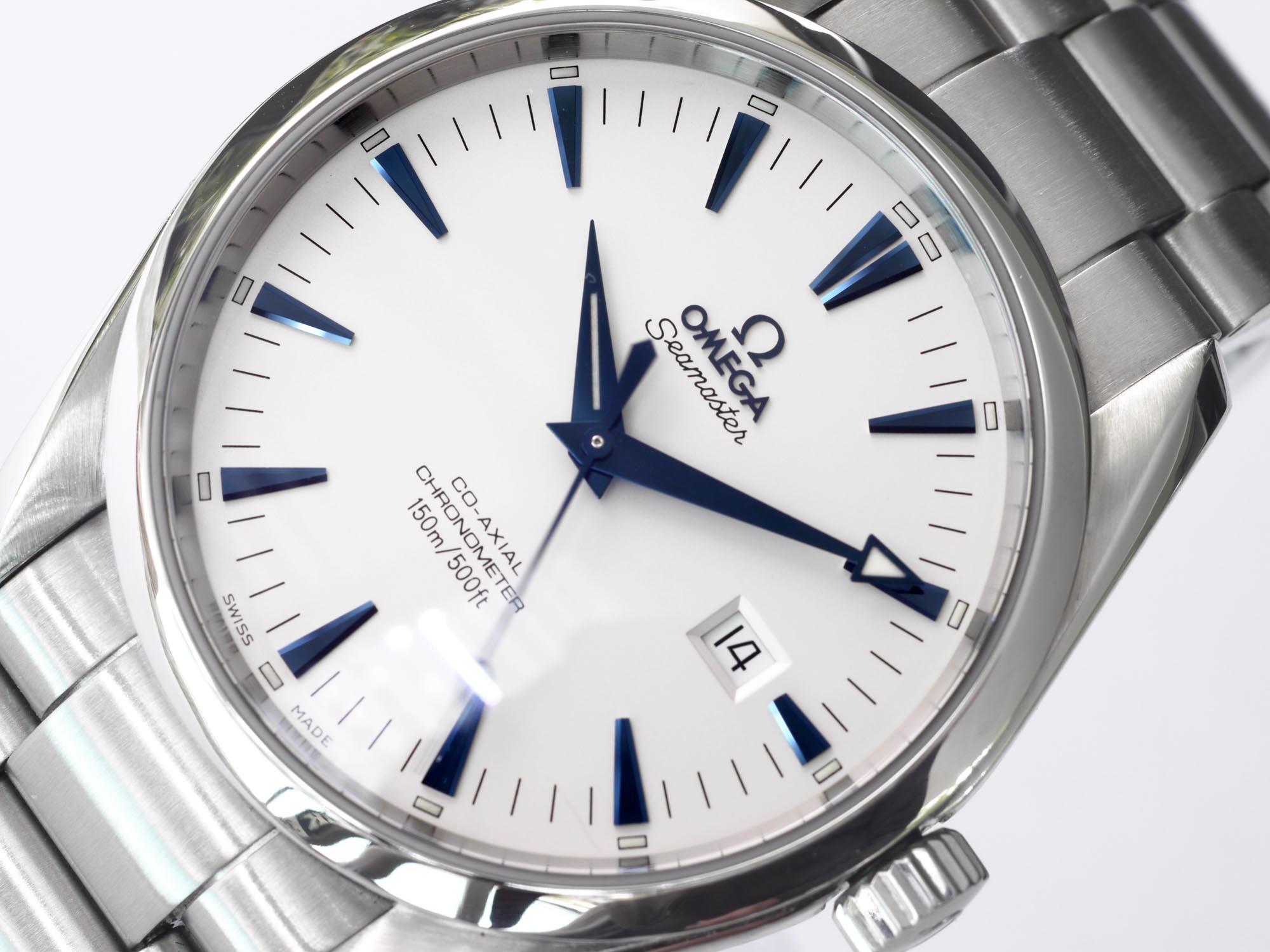 omega aqua terra white dial blue hands