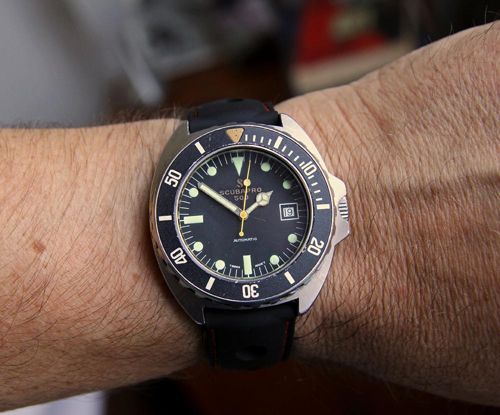 Sold vintage 1970s scubapro 500 automatic diver 39 s watch - 40mm dive watch ...