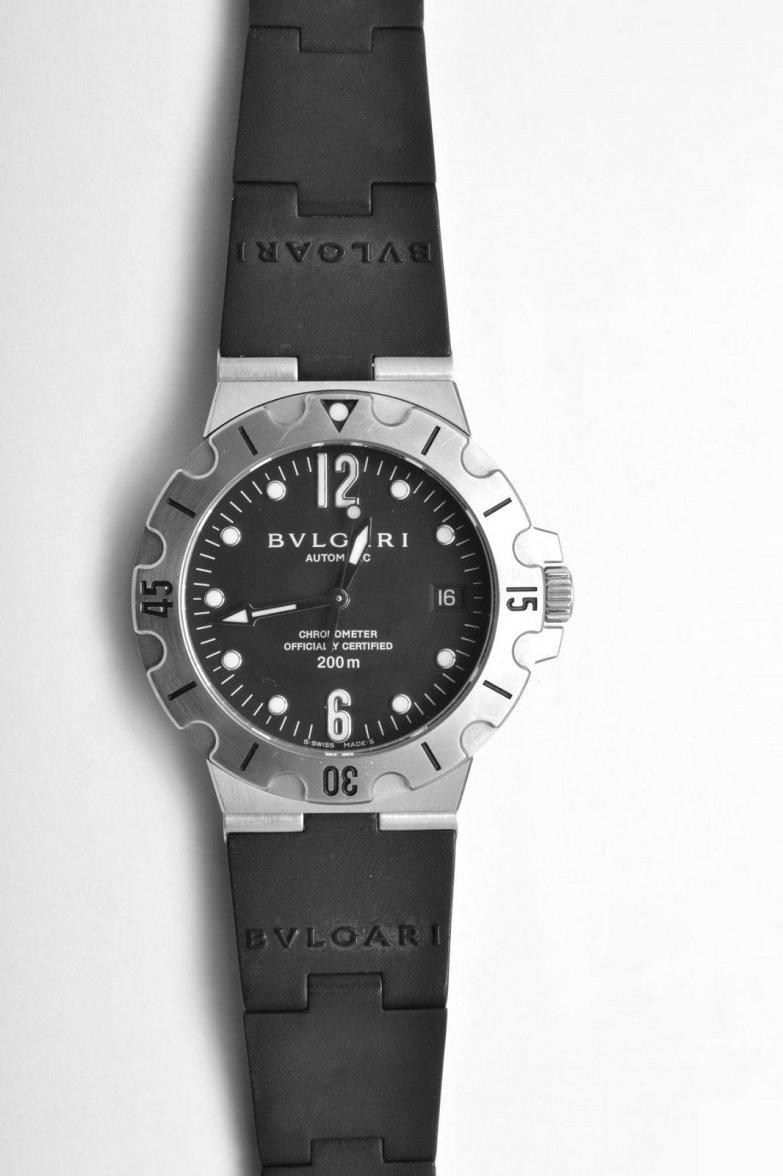 b37fcdc3447 FS - Bvlgari Diagono Scuba SD38 S Chronometer Automatic Black Dial ...